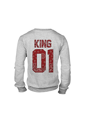 KING & QUEEN - SWEAT COL ROND KING 01 - Red Bandana Gris