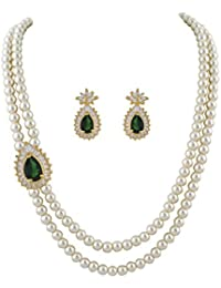 Classique Designer Jewellery White Two Layers Pearl Necklace With Green Beads & CZ Stones Side Brooch Earrings...