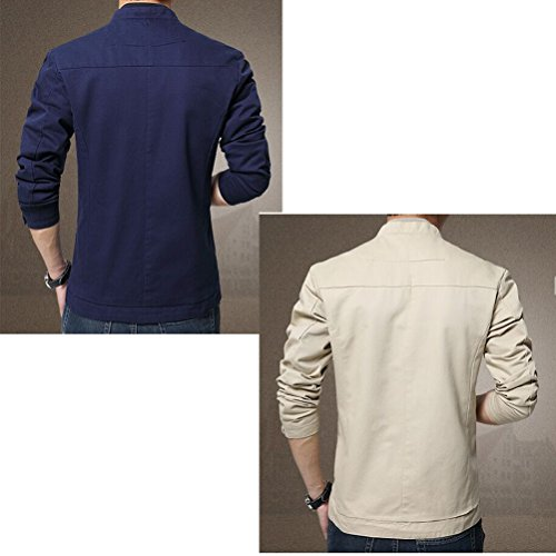 Zhuhaitf Décontractée Style Mens Stand Collar Jackets Zipped Thin Coats Outerwear Black