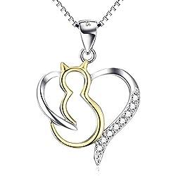 YFN 925 plata de ley Circonita gato corazón colgante collar