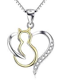 Valentinstag Geschenk für Sie YFN Katze Kette Damen Schmuck 925 Sterling Silber Herz Katze Anhänger Halskette, 45 cm