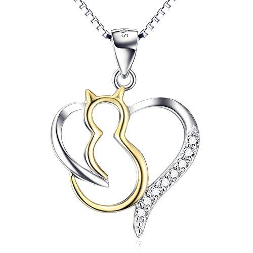 YFN Katze Kette Damen Schmuck 925 Sterling Silber Herz Katze Anhänger Halskette, 45 cm (Herz Katze Anhänger)