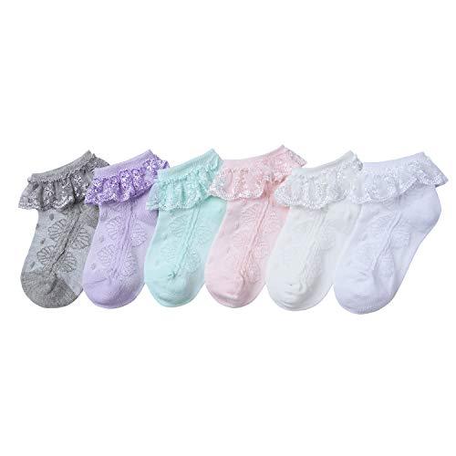 Stretch-söckchen (Adorel Baby Mädchen Socken mit Rüschen Spitze 6er-Pack Mehrfarbig 3-5 Jahre (Herstellergr. XL))