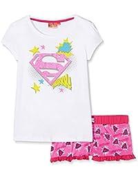 Pyjama court enfant fille Superman Blanc/rose de 8 à 12ans