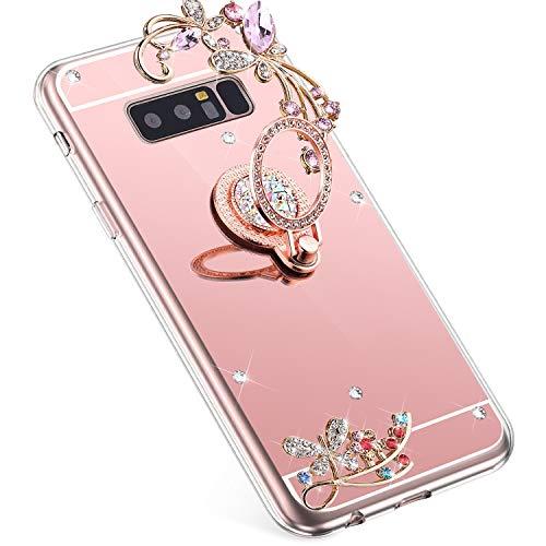 Uposao Kompatibel mit Samsung Galaxy Note 8 Handyhülle Strass Diamant Bling Glitzer Spiegel Schutzhülle Mirror Case Schmetterling Blumen Silikon Hülle Tasche mit Ring Halter Ständer,Rose Gold