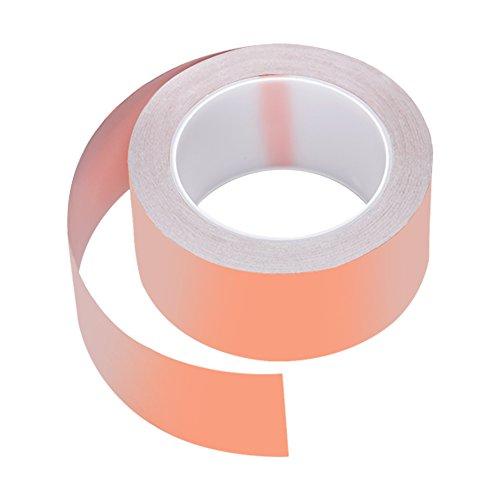 Kupferband, Qtiwe Kupferfolie Klebeband 25M x 50mm Kapton Tape Klebeband Selbstklebend Abschirmband Schneckenband Gegen Schnecken