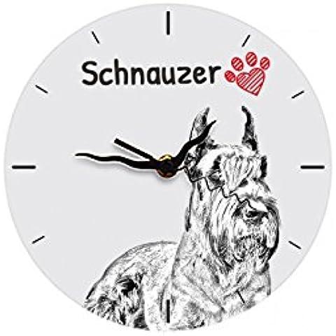 Schnauzer ritagliata, autoportante orologio piano in MDF con l'immagine di un cane