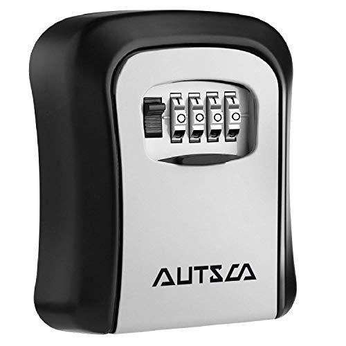 AUTSCA Boite à clé sécurisée Key Safe Rangement sécurisé Avec code numérique à 4 chiffres, boîte à clés avec combinaison numérique, étanche à l'eau et à la rouille, coffre-fort, boîte à clé pour le mo