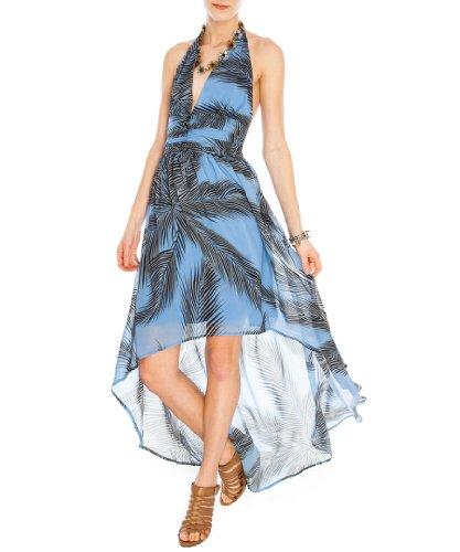 celebrity style femme Dos nu pour femme Motif hawaïen queue de poisson Motif floral en mousseline haute et basse longue mini cocktail mariage Robe de vacances Bleu - Bleu