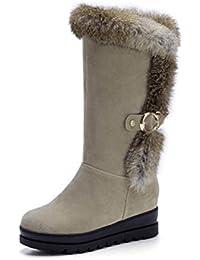QPYC Las señoras Zapatos guardan las botas de nieve calientes del terciopelo Las botas cómodas de los talones planas redondean la estación impermeable Las botas escarpadas ponen negro , beige , 35