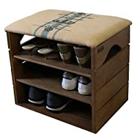 LIZA SHOE RACK - Premium Vintage Wooden Shoes Organiser, Storage, Cabinet, Holder Bench with Foldable Soft Seat Cushion for Entryway, Hallway 51 x 47 x 35 cm