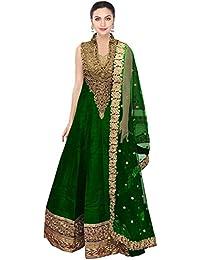 Caffoy Cloth Company Women's Light Green Color Bangalori Silk Designer Embroidered New Arrive Anarkali Salwar...