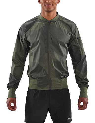 Skins Herren Activewear Orsa Mens Bomber Run Jacket Deconstructed Camo Ut Jacke, Utility, Medium Cold Weather Running Jacket