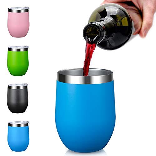 Arteesol Vasos de Vino al Aire Libre aislados, 350ml (12oz) de vacío con Tapas Doble Pared de Acero Inoxidable Vasos irrompibles para Acampar Piscina de la Playa de Picnic (Azul)