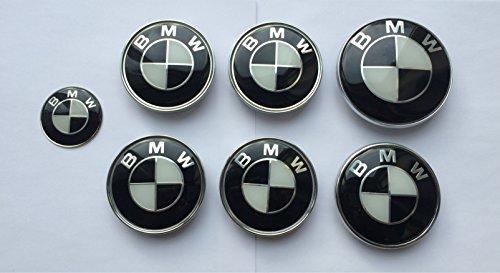 OEM-BM 36136783536Set von 7schwarz & weiß Logo-Rad Center Kappen, Kofferraum, Motorhaube & Lenkrad Badges Embleme (Logo Und Weiß Schwarz)