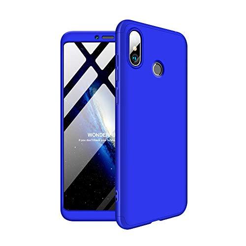 2ndSpring Xiaomi Mi MAX 3 Funda, Funda Xiaomi Mi MAX 3 360 Grados Integral para Ambas Caras + Cristal Templado, Luxury 3 in 1 PC Hard Skin Carcasa Case Cover para Xiaomi Mi MAX 3 Azul