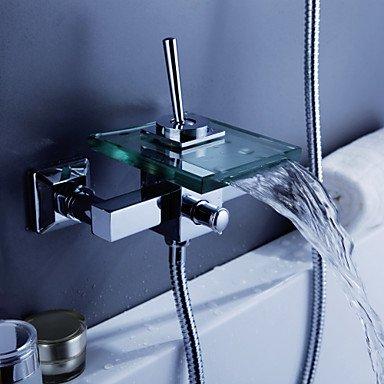 zeitgen?ssische Wasserfall Badewanne Wasserhahn mit Glasauslauf (Wandmontage)