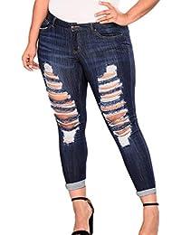 yulinge Las Mujeres Jeans Rasgado Destoryed Denim Pantalones con Pocket Plus  Size cee861d1b18b
