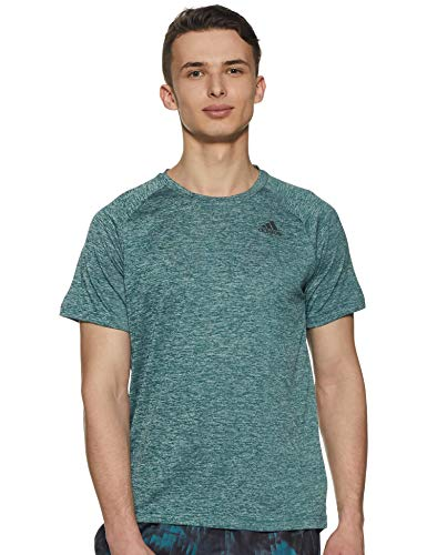 Heathered T-shirt (adidas Herren D2M Heathered Kurzarm T-Shirt, Noble Green, L)