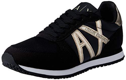 Armani Exchange Damen Microfiber Suede lace up Sneaker, Schwarz (Black+Lt Gold N692), 37 EU