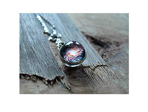 Andromeda Kostüm - Doppelseitige Halskette mit Spiralnebel, Weltall-Anhänger