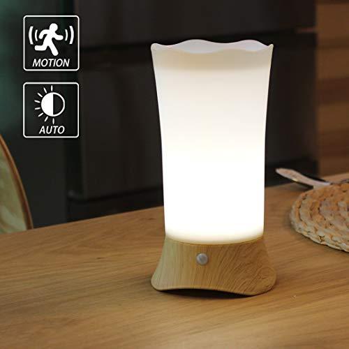 WRalwaysLX Lámpara de mesita de noche con sensor de movimiento LED y luz nocturna, utiliza 3 pilas...