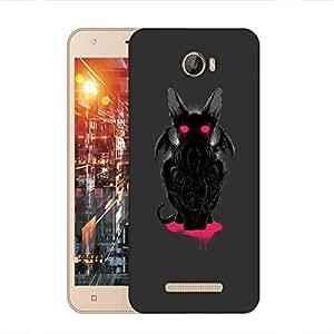 Snoogg Black Monster Designer Protective Back Case Cover For Intex Aqua 5.5