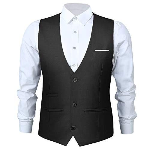 Anzugweste Herren Weste V-Ausschnitt Ärmellose Westen Slim Fit Herrenweste mit 3 Knöpfe für Hochzeit Business Retro Vest Schwarz