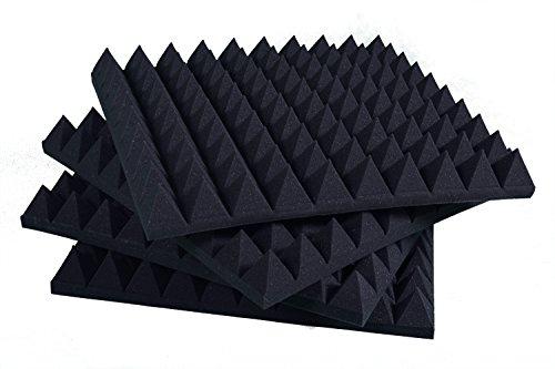 Pannelli Fonoassorbenti Piramidali Correzione Acustica 100x100x6 D30 Nero Antracite Pacco Da 5