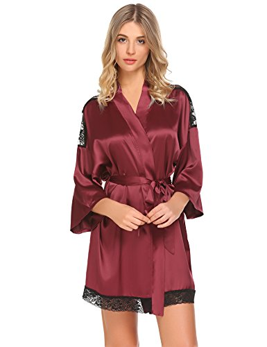 Kimono Satin-gürtel (Meaneor_Fashion_Origin Damen Sexy Satin Kimono Morgenmantel Bademäntel V Ausschnitt mit Gürtel und Spitze, Rot (Burgund), Gr. M(EU38-40))