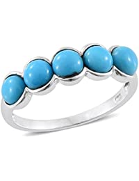 Sleeping Beauty Turquoise 5 Stone Ring in Platinum Overlay Sterling Silver 2.25 Ct