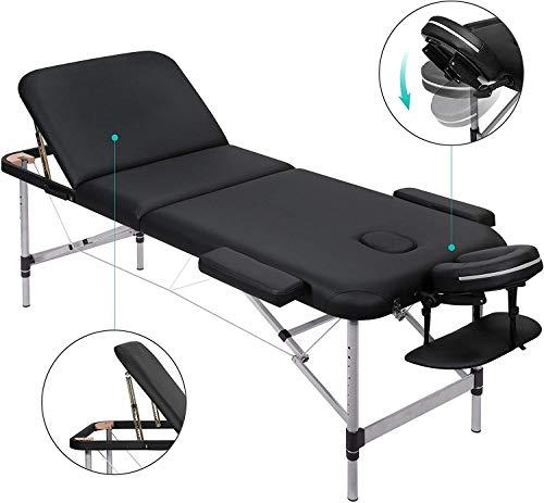 MARNUR Massageliege Klappbar Kosmetikliege Massagetisch Behandlungsliege mit 3 Zonen Ergonomischer Kopfstütze Höhenverstellbaren Aluminiumfüßen Tragetasche Tragbar Einfache Installation Schwarz