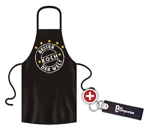 No-Compromise ® Grillschürze Schürze Latzschürze Bistroschürze Küchenschürze Kochschürze Bester Koch Welt