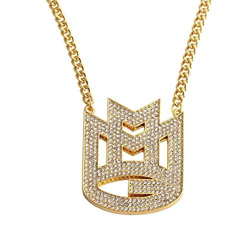 Hip-Hop-Anhänger, M Brief Männer Halskette Rapper Kubanisch Ketten Glänzend Anhänger Iced Out Vergoldet Inlay Zirkonia Punk-Stil Mode Schmuck Zubehör Geschenk