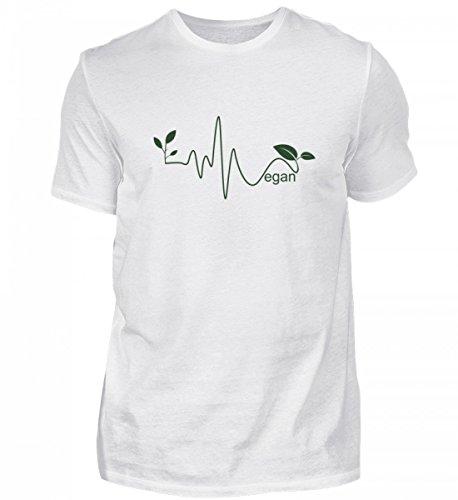 TeeBizz Geschenkidee für Veganer - Herzschlag Herzfrequenz - Geschenk Für Vegetarier - Shirts für Vegane Männer - Vegan T-Shirt - Vegetarier Tshirt