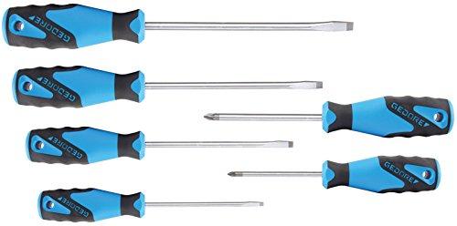 Preisvergleich Produktbild GEDORE 3K-Schraubendreher-Satz PZ-06 / 6-tlg. Schraubenzieher-Set für Schlitzschrauben (4 / 5,5 / 6,5 / 8) & Pozidriv-Kreuzschlitzschrauben (1 / 2) mit Klingen aus Vanadium Stahl
