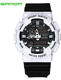 Sanda Hombre Deportivo Reloj Digital Japonés Cuarzo Caucho con 30 m Resistente al Agua Despertador Dos