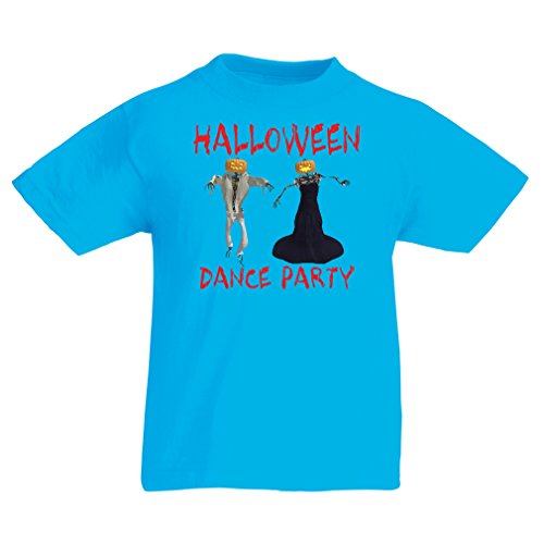 Kinder T-Shirt Halloween Party (12-13 years Hellblau Mehrfarben)