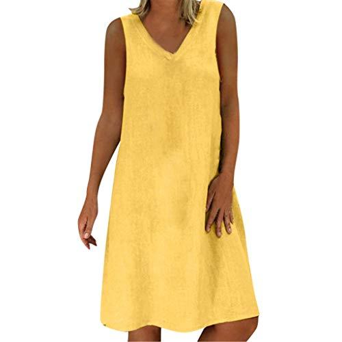 POPLY Frauen Einfache Baumwolle und Leinen Kleid Damen Sommer Feminino Vestido V-Ausschnitt T-Shirt Beiläufig Einfarbig Ärmellos Dress(Gelb,4XL)