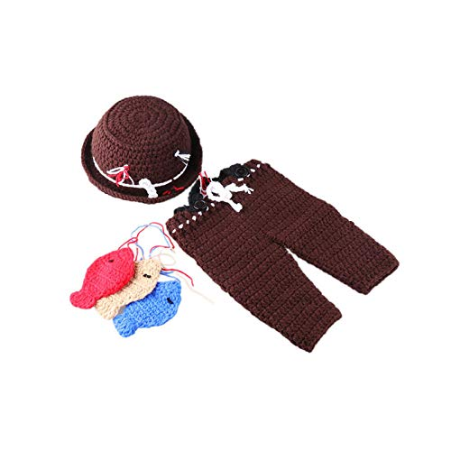 (W&P wp Neugeborene Fotografie Kostüm Reine Hand gestrickte Baby Kaffee Fischer Hut Fotografie entsprechen Requisiten)