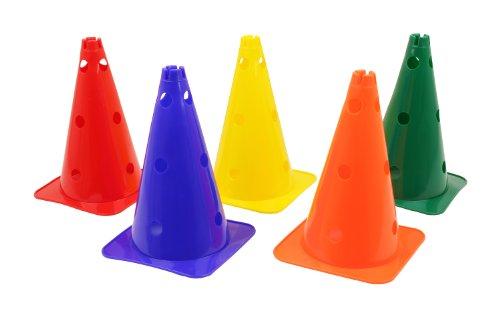 Hütchen, Kegel mit Löchern für Stangen, 38 cm, blau, gelb, grün, orange, rot