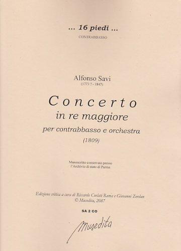 MUSEDITA SAVI ALFONSO - CONCERTO IN RE MAGGIORE PER CONTRABASSO E ORCHESTRA Klassische Noten Kontrabass