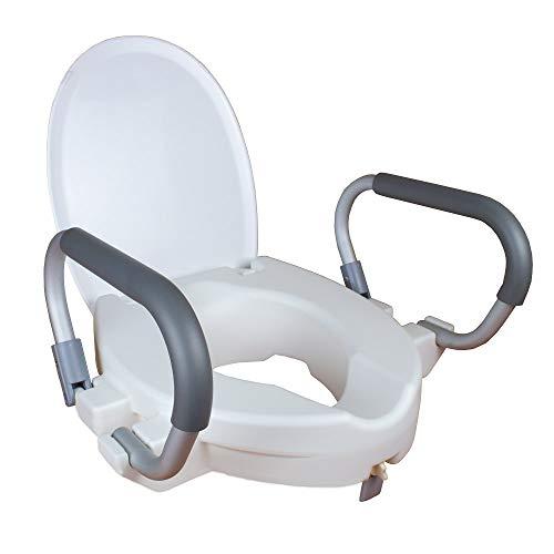Mobiclinic Toilettensitzerhöhung mit Armlehnen, Deckel, Weiß, Modell Alcalá