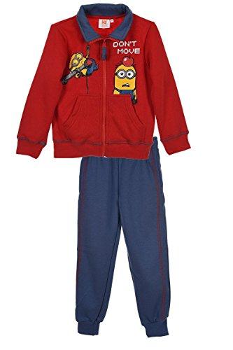 Minions Kinder Trainingsanzug (HO1359) Jogginganzug innen mit gebürstetem Fleece für Jungen und Mädchen mit Minions Motiven, rot/blau, Gr. 98 (Trainingshose Fleece-print)