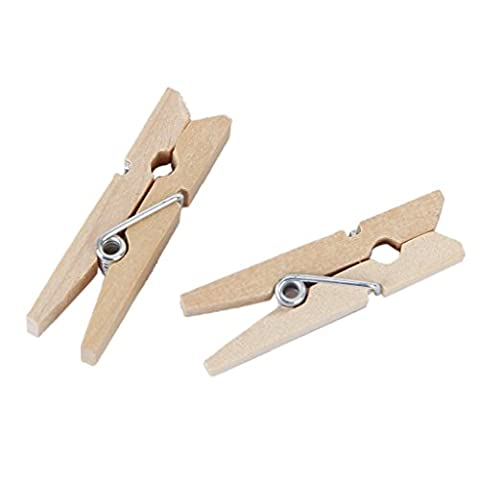 Approx. 50pcs Multifunctional Wooden Laundry Pegs Clothes Paper Clips