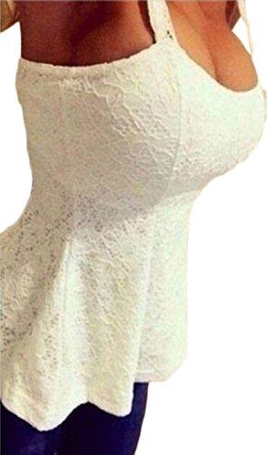 Button-down-bluse Aus Seide (Tomayth Damen Floral Ärmellos Rückenfrei Tank Tops Blusen Casual Rundhals Spitze Spaghetti Bügel Trägershirt Spitzenshirt Spitze T-Shirt Weste Reißverschluss (XL, Weiß))