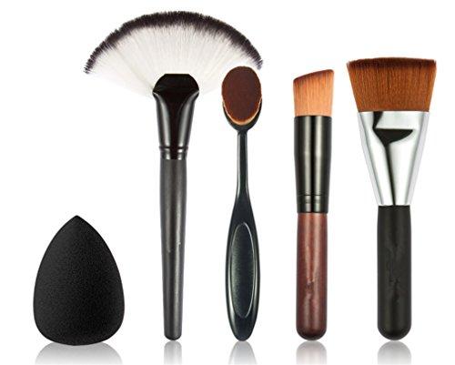 Pro Blender Beauty Reiniger (JasCherry Pro 4 Stück Make Up Pinselset + 1 Schwamm Puff - Professionellen Kosmetik Schmink-pinselset für Foundation Concealer Lidschatten etc.)