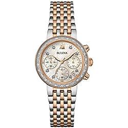 Bulova Ladies Women's Designer Diamond Watch Bracelet - Steel Rose Gold Mother Of Pearl Dial Wrist Watch 98W215