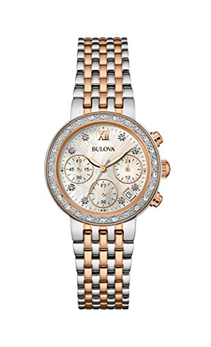 Bulova Diamond 98W215 - Damen Designer-Armbanduhr - Stahl - Perlmutt-Zifferblatt - Roségoldfarben