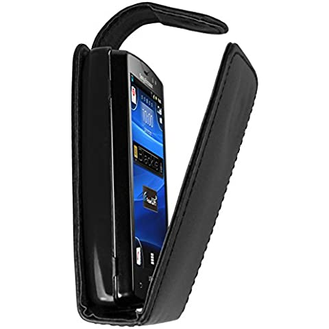 mumbi Flip Case - Funda para Sony Ericsson Xperia Mini Pro, negro